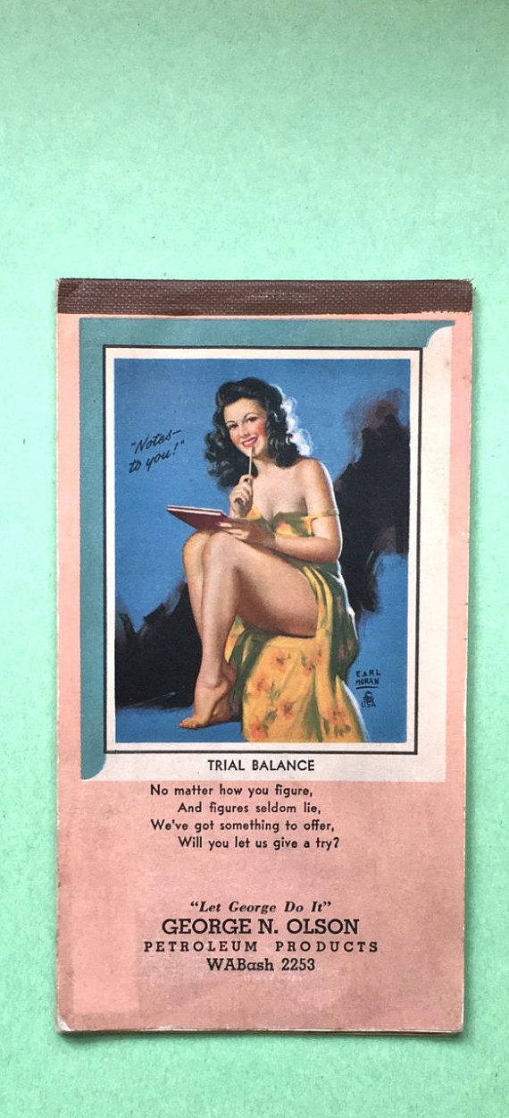 1940s Earl Moran Notebook Calendar Pin Up Girl Calendar Notebook