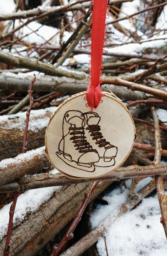 Wood Burned Skates Ornaments Hockey Coach by MysticWildCraft
