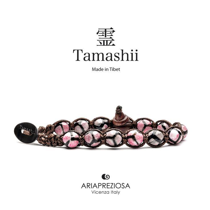 Bracciale originale Tamashii Painted realizzato con pietre naturali ONICE dipinto col. ROSA.