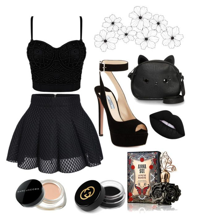 """""""Boring black look"""" by anicute on Polyvore featuring Prada, Loungefly, Lime Crime, Anna Sui, Gucci and Marc Jacobs"""