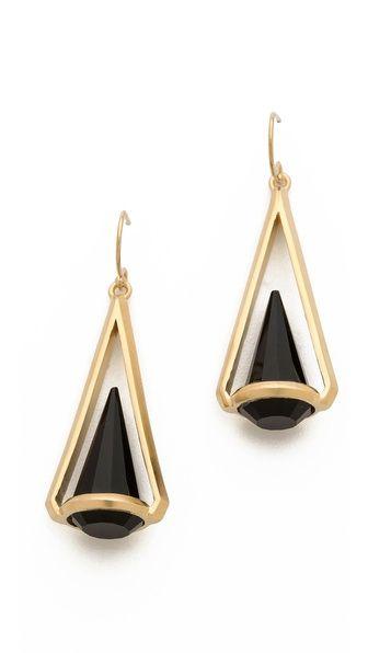 Dean Davidson Spectrum Earrings. Triangular settings hold onyx spikes on these Dean Davidson earrings.