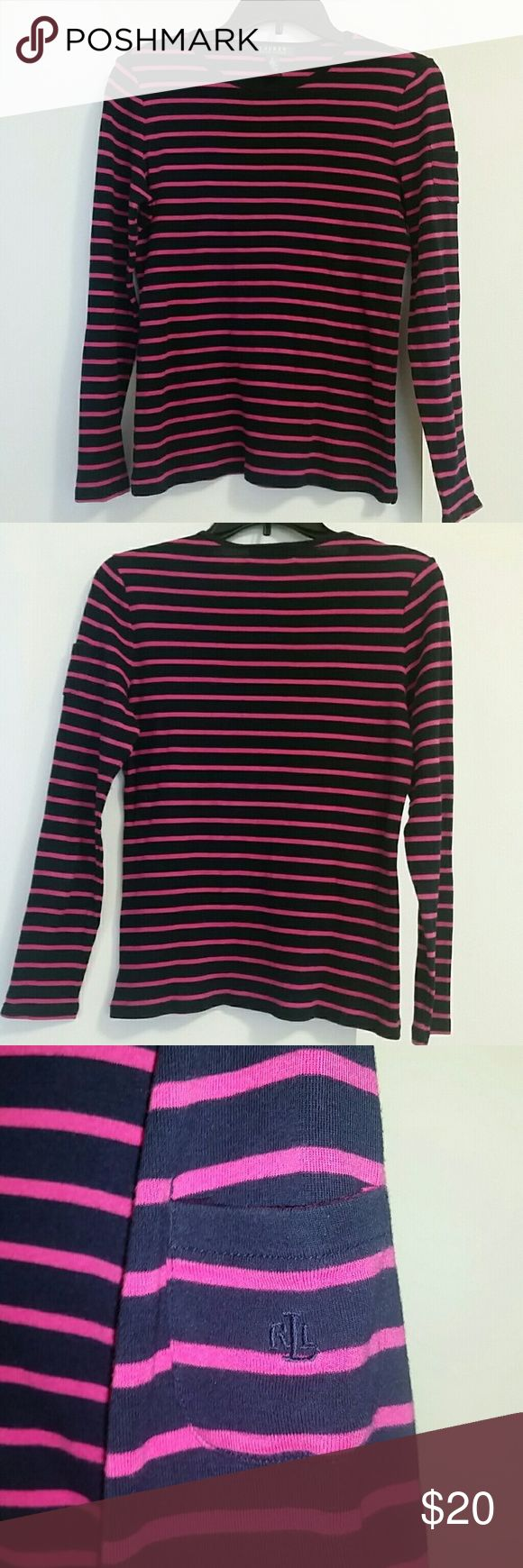 Ralph Lauren Long Sleeve Ralph Lauren long sleeve top, size Medium. Navy blue and pink striped. Small pocket on the left sleeve. Lauren Ralph Lauren Tops Tees - Long Sleeve