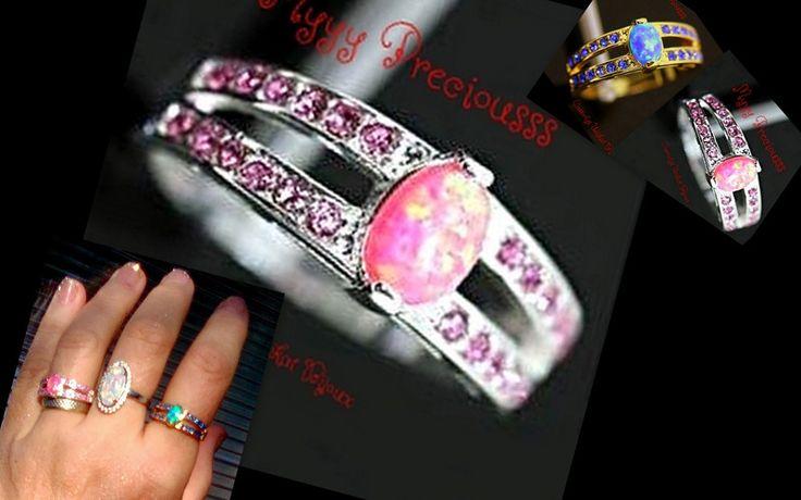 OPAL & Topaz, Silver Band Pink RING from CamelysUnikatBijoux by DaWanda.com