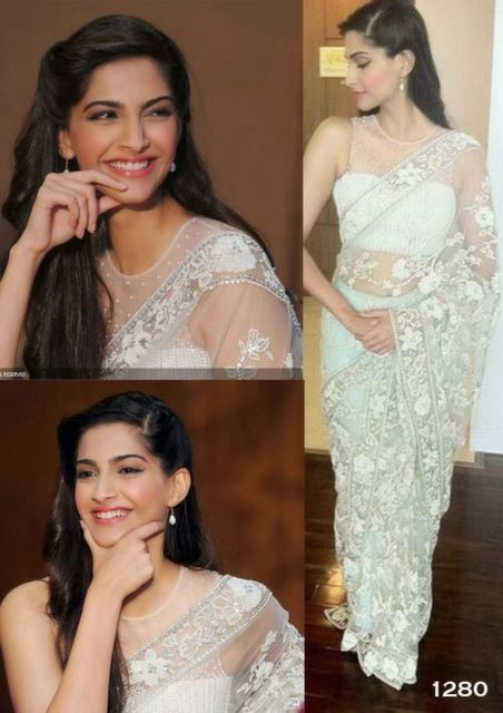 Bollywood Actress Sonam Kapoor Net Saree in White color