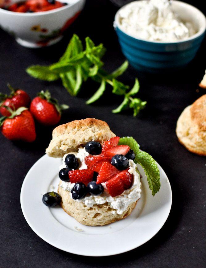 Amaretto Soaked Strawberry + Blueberry Shortcake Sliders with Mascarpone Whipped Cream