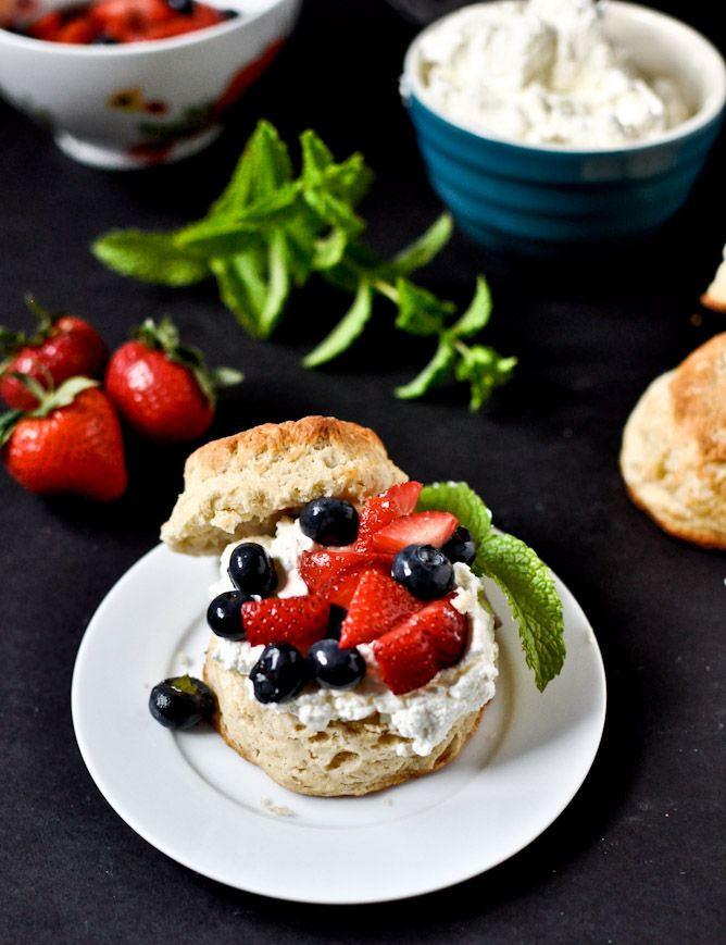 Amaretto Soaked Strawberry + Blueberry Shortcake Sliders with Mascarpone Whipped Cream