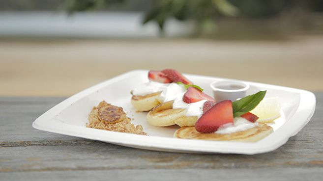 American-Style Pancakes with Caramelised Banana and Coconut Crumb