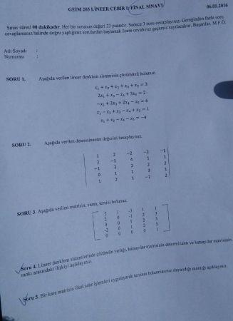 Lineer Cebir -1 Final Soruları