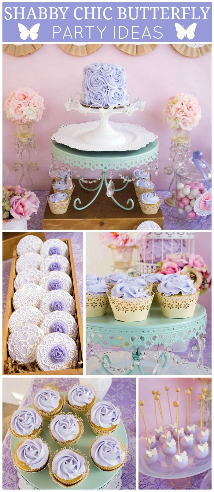 A shabby chic butterfly girl birthday party with lots of lavender and lace and…