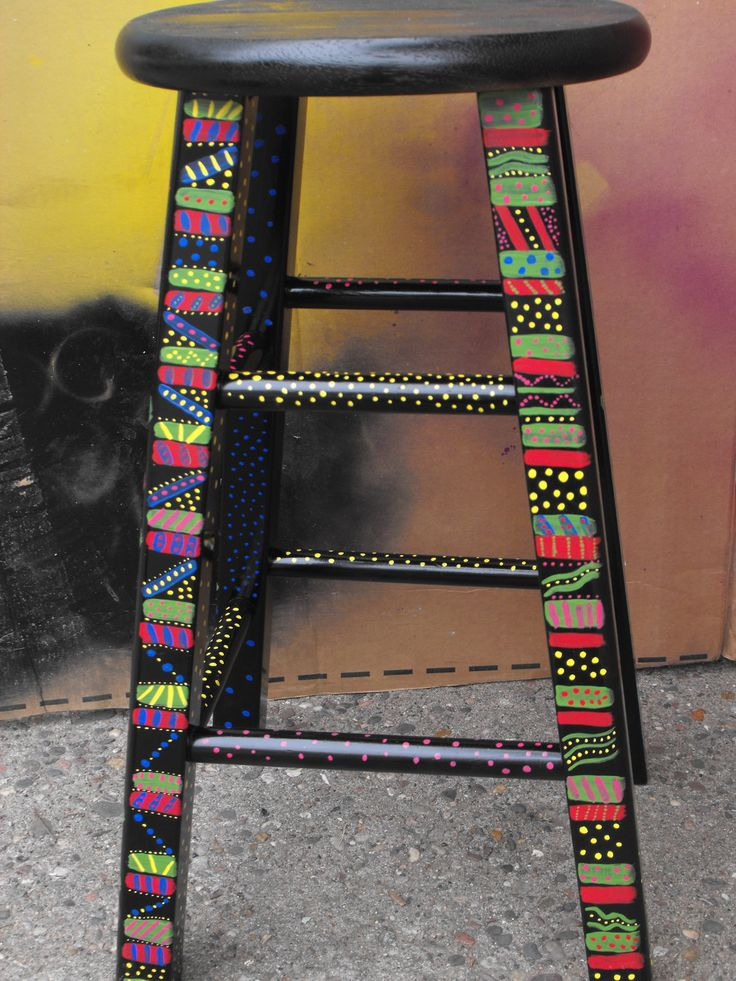 funky hand painted stool