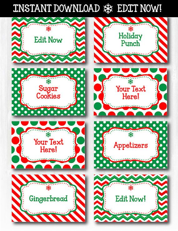 Christmas Labels - Christmas Food Labels - Christmas Tags - Instant Download - Edit NOW with Adobe Reader! Christmas Party Supplies