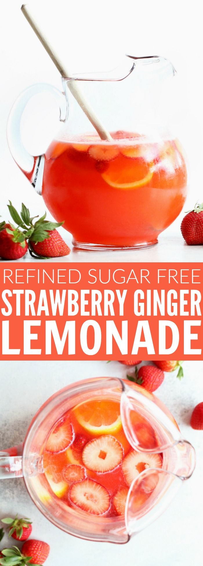 You guys are going to love this strawberry ginger lemonade!! It's refined sugar free, only a few, fresh ingredients, and perfect for a fun brunch, celebration, or any day of the week! thetoastedpinenut.com #sugarfree #lemonade #strawberry #ginger #beverage #drink #easter #brunch #bridalshower #babyshower