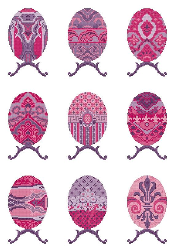 EGG SAMPLER - pink,purple,needlepoint kit,cross stitch,embroidery,easter,diy embroidery kit,faberge,decorative,Anette Eriksson Design
