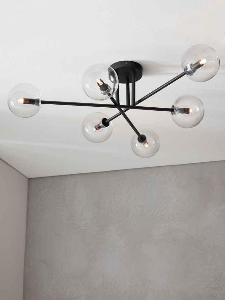 Lights for laundry - Aksel 6 Light CTC in Black/Clear