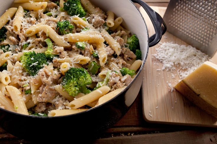 This pasta recipe, full of chicken sausage and tender broccoli florets, is tossed with fusilli pasta and a creamy Parmesan sauce.