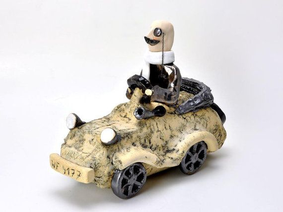 Lord in car, ceramic sculpture, home decor, ceramic figurines, art by Agnieszka Beer