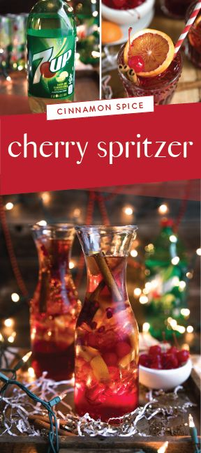 7UP®, Cinnamon liqueur, bourbon, tart cherry juice, and fresh orange wedges mix together to make this Cherry and Orange 7UP® Spritzer recipe. This delicious holiday cocktail is guaranteed to warm you—and your holiday party guests—from the inside out thanks to the festive seasonal flavors! Plus, you can pick up all the ingredients you need at Safeway or Albertsons Companies to ring in the Christmas and New Year holiday in style. Must be 21 or older to consume alcohol. Please drink…