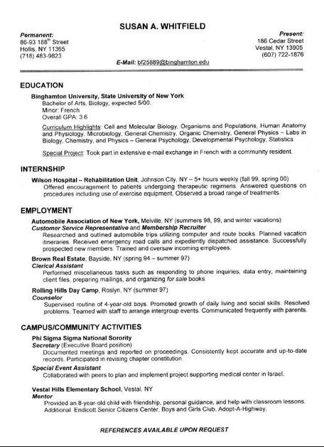 Resume Format 2013 College Student