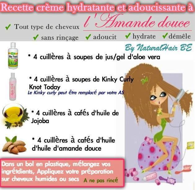 DIY Crème hydratante et adoucissante : 4 cs de jus ou gel d'aloe vera + 4 cs d'après-shampooing + 4 cc d'huile de jojoba + 4 cc d'huile d'amande douce