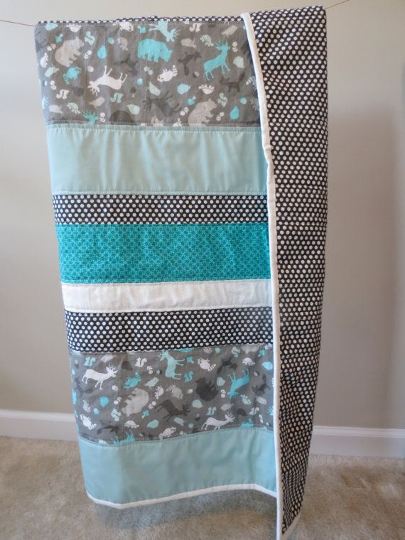 Baby quilt, Toddler quilt, Modern - Teal, White, Animal print, Polka dot, Turquoise. Baby boy or baby girl.