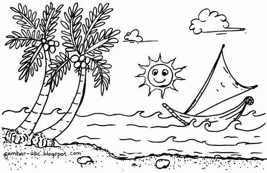 Contoh Gambar Mewarnai Pantai Tepi Laut Gambar Mewarnai Coloring