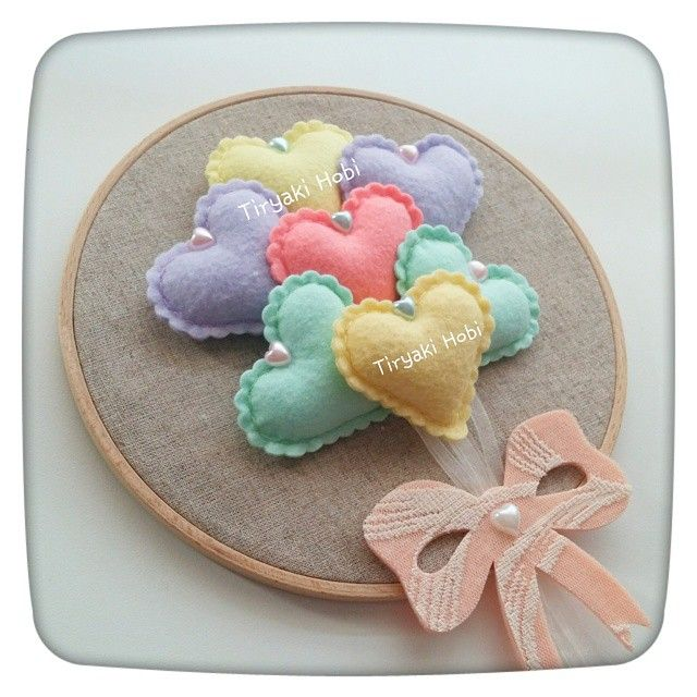 ♥ Tiryaki Hobi ♥: Keçe figürlü, kasnak pano - Kalp (pastel seri) --------- felt hoop art