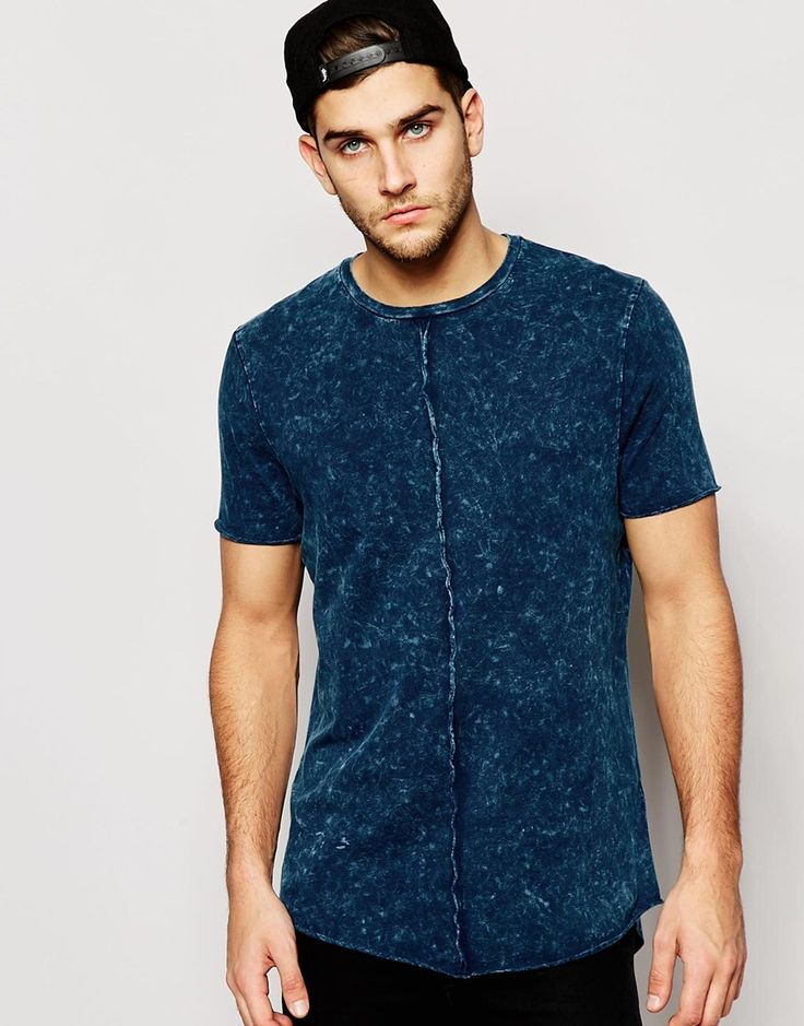 Image 1 ofASOS Super Longline T-Shirt With Acid Wash Exposed Seams And Scooped Hem $17.50
