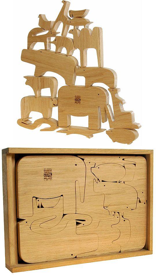 Enzo Mari: 16 Pesci Italian Modern Design Wooden Puzzle