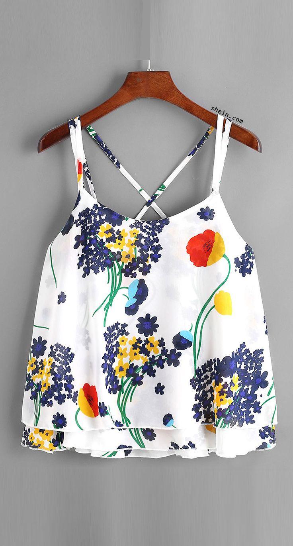 Floral Print Layered Chiffon Cami Top