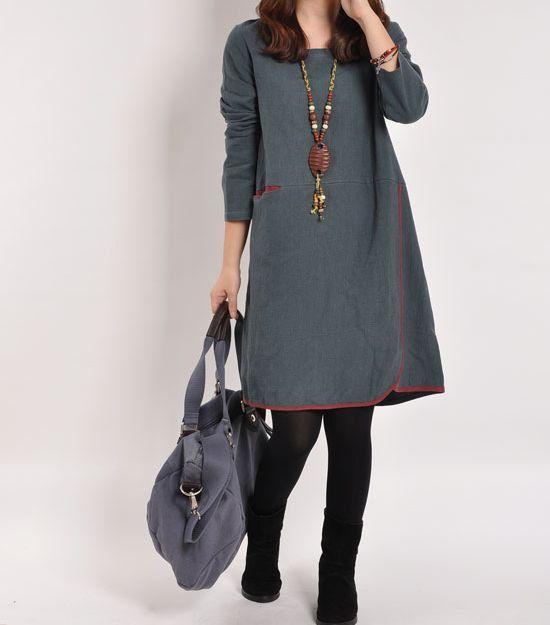 Blue gray cotton dress linen dress long by originalstyleshop, $59.00