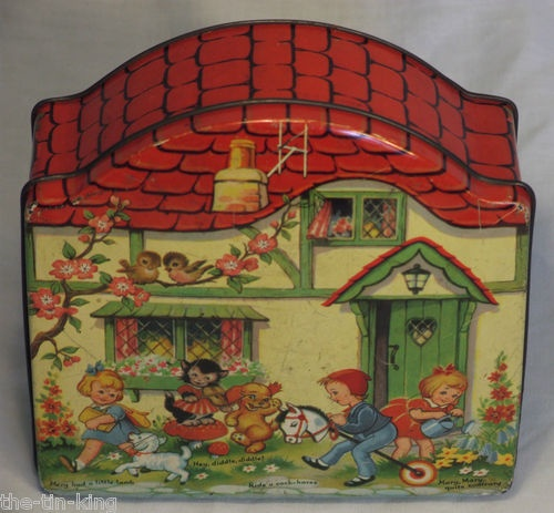 Superb Blue Bird Toffee Confectionery Figural Cottage Tin Nursery Rhymes C1940s