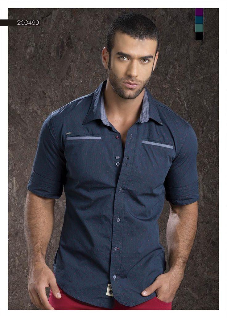 Camisa-para-hombre-color-azul-oscuro-manga-tres-cuartos-dark-blue-shirt-for-men- three-quarter-sleeves