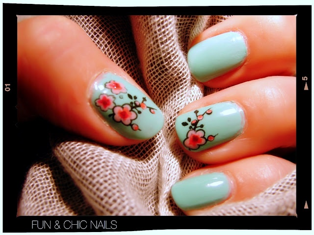 Cherry blossom mani! love this idea, but would probably go for a different base color..