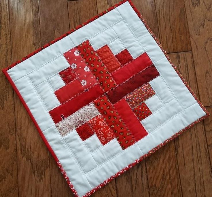 Handmade Quilted Table Mat in the Colors of Love - Red, Log Cabin Pattern