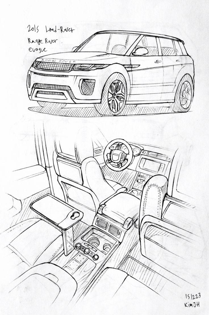 Car drawing 2015 Land Rover Range rover Evoque Prisma on paper Kim
