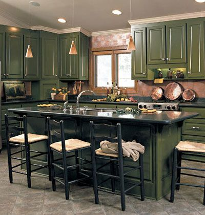 11 best images about painted cabinets on pinterest paint for Dark green kitchen cabinets