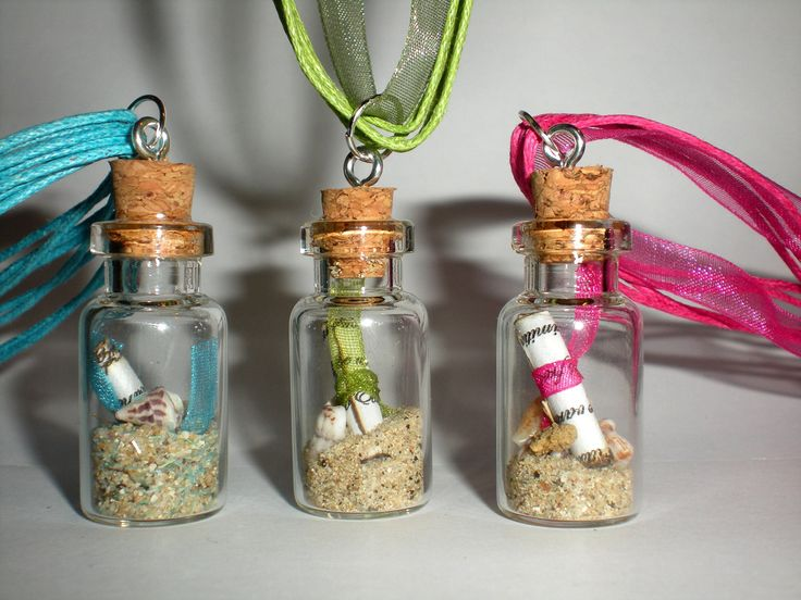 Mini message in a glass bottle necklace with cork
