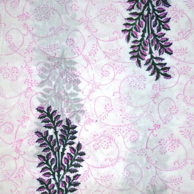 Pink Lavender Flower Design Cotton Fabric Indian Fabric Cotton Fabric Indian Cotton