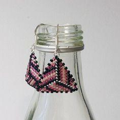 #0008 boucles d'oreilles en argent, de couleur rose, tissage peyote en perles miyuki