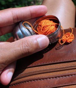 yarn-infuser ...For tiny projects use a tea infuser to hold your yarn. Super cool.