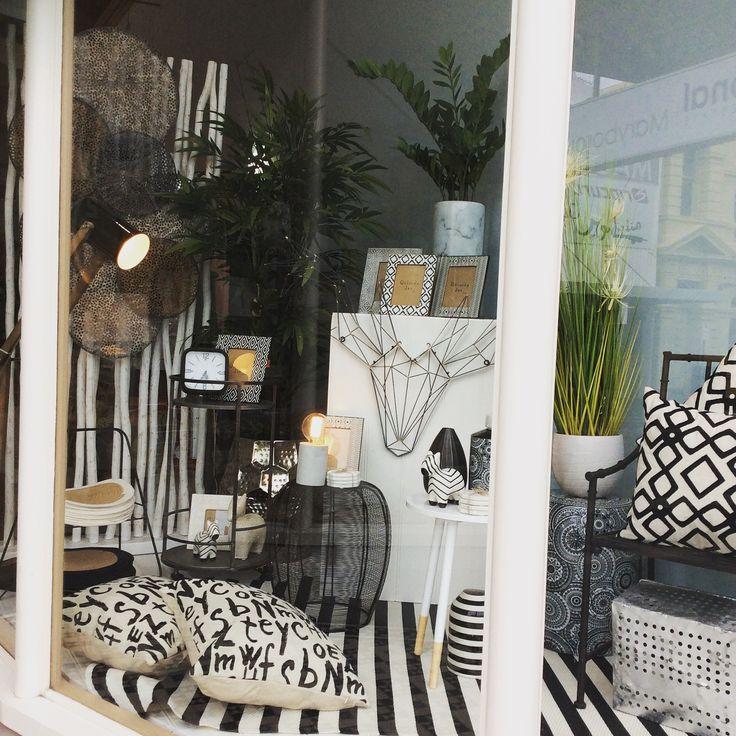 New window. #black #white #stag #cushions #lighting #homewares #quinceyjac