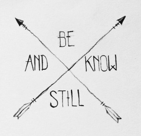 """Simple arrow verse tattoo. """"Be still and know that I am God."""" Psalms 46:10"""