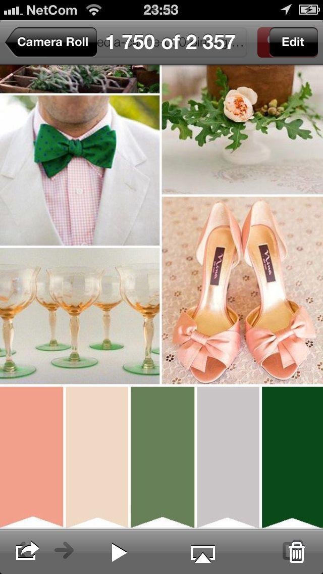 fargeskjemaet for bryllupet er sånn ca sånn. Dvs kjoler i det champagneaktige,( MEN IKKE så brudete kjole, mer en vanlig kjole i den fargen) kjører litt knæsje detaljer:  grønne sko, og slips og bukett antagelig.  Grå dress.