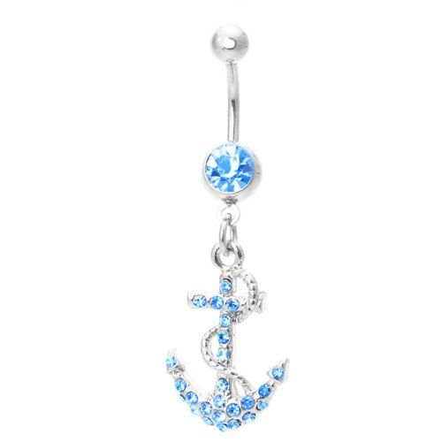 Anchor Belly Ring Dangle Navel Ring with Aqua Cubic Zirconia Stones 14G Belly Piercing + 1 Free Belly Retainer