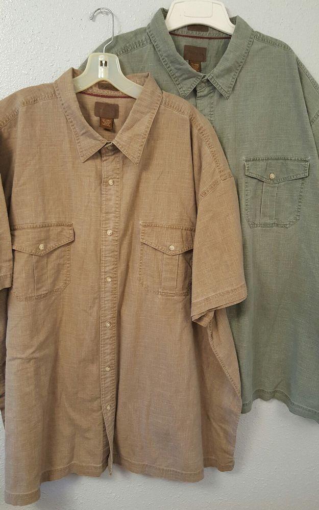 St.Johns Bay, set of 2, khaki shirts, size 4XL. Brown and Green. #StJohnsBay #khaki