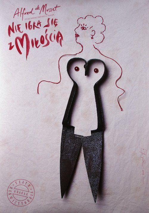 On ne badine pas avec l'amour  Nie igra sie z Miloscia - Alfred de Musset  Original Polish theater poster  designer: Tomasz Boguslawski  year: 2004  size: B1