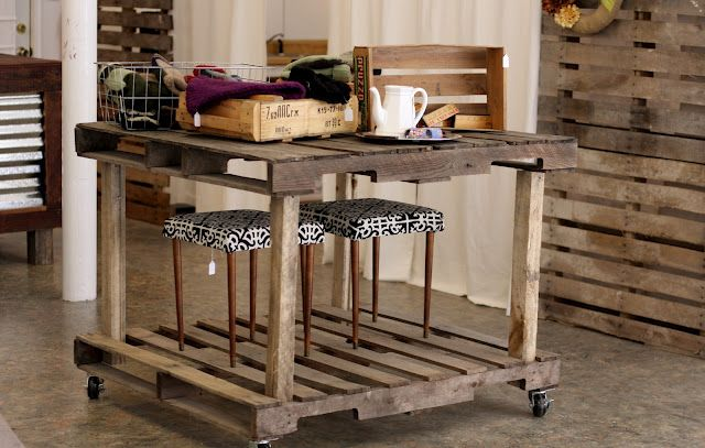 I love this use of pallets Smaller painted version would make a cool kitchen island.