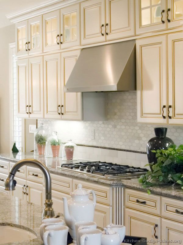 Antique White Kitchen with a Gas Cooktop, Stainless Steel Hood, and Glass  Cabinets - 75 Best Antique White Kitchens Images On Pinterest Architecture