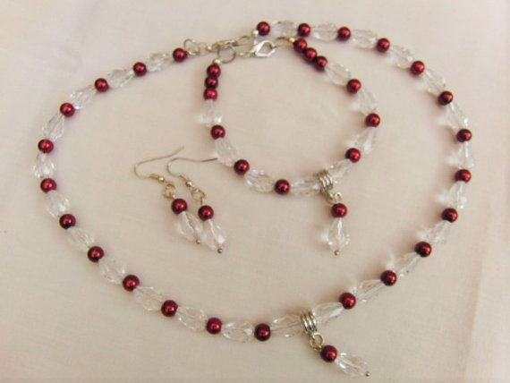 Burgundy Pearl and Clear Crystal Bridal Jewellery Set, Necklace, Bracelet…