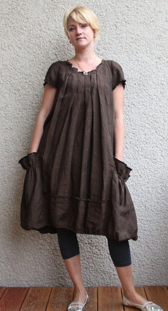 Brown linen dress - tunic
